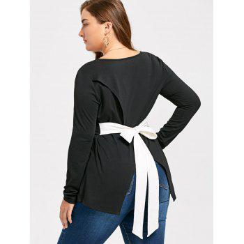 Plus Size Back Bowknot Asymmetric Long Sleeve T-shirt - BLACK 2XL