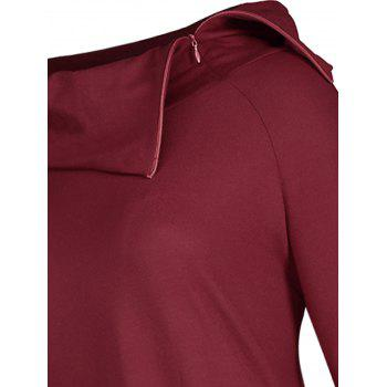 High Low Plus Size Lapel Lace-up Hoodie - WINE RED 5XL