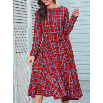 Plaid Long Sleeve Belted Midi Dress - RED XL