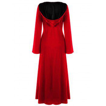 Plus Size Hooded Lace Up Maxi Dress - AMERICAN BEAUTY 3XL