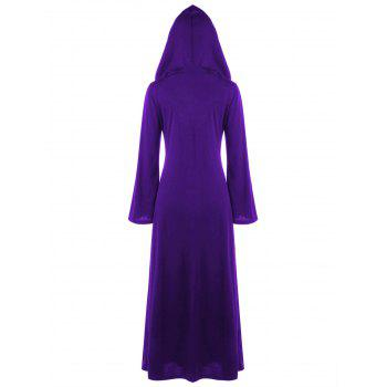 Plus Size Hooded Lace Up Maxi Dress - CONCORD 5XL