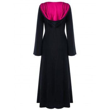 Plus Size Hooded Lace Up Maxi Dress - BLACK / ROSE XL