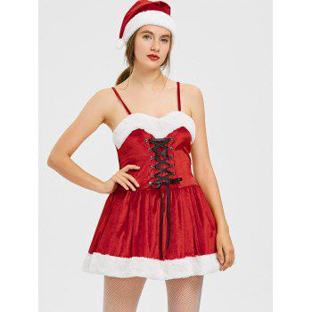Christmas Lace Up A Line Mini Dress - RED RED