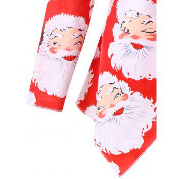 Plus Size Santa Claus Print Christmas T-shirt - RED 2XL