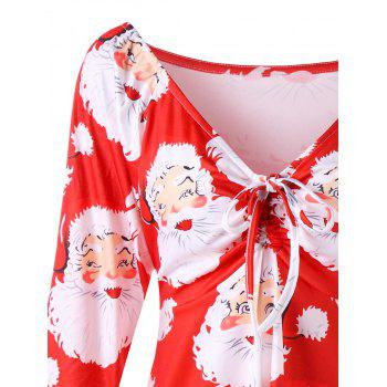 Plus Size Santa Claus Print Christmas T-shirt - RED 5XL