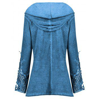 Crochet Panel Plus Size Hoodie - BLUE 4XL