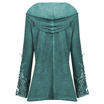 Crochet Panel Plus Size Hoodie - BLACKISH GREEN XL