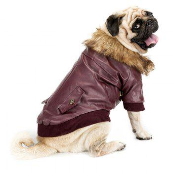 Faux Fur Collar Leather Coat for Pet Dog - WINE RED M