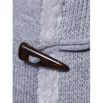 Horn Button Knitted Fleece Jacket - LIGHT GRAY L