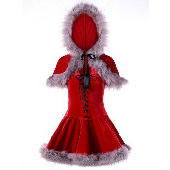 Ugly Christmas Velvet Lace Up Cape Dress - RED RED