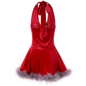 Ugly Christmas Velvet Lace Up Cape Dress - RED XL