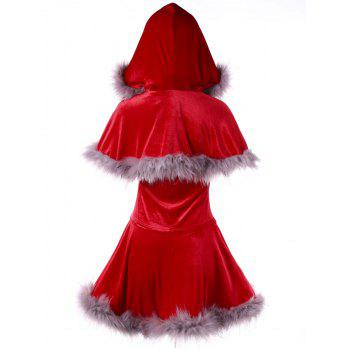 Ugly Christmas Velvet Lace Up Cape Dress - RED 2XL