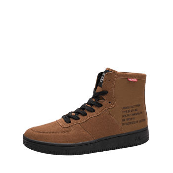 Letter Print High Top Casual Shoes - BROWN 42
