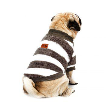 Striped Turtleneck Coral Fleece Clothes for Dog - LIGHT COFFEE M