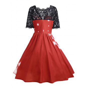 Plus Size Lace Panel Father Christmas Midi Party Dress - RED XL