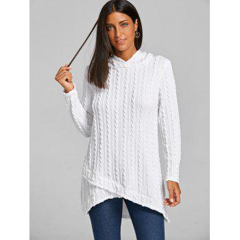 Hooded Cable Knitted Tunic Sweater - WHITE M