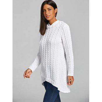 Hooded Cable Knitted Tunic Sweater - WHITE L