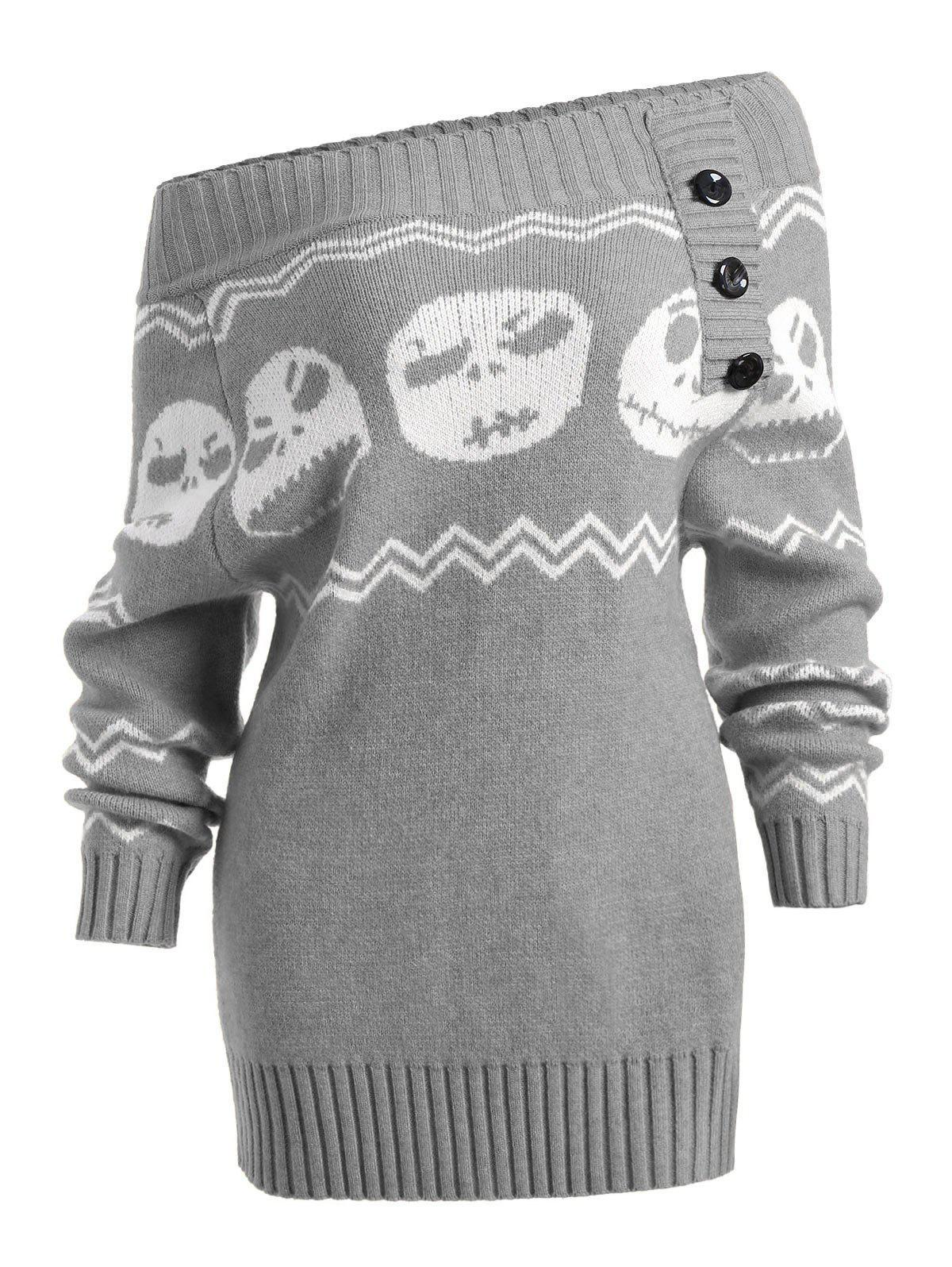 Skull Off The Shoulder Tunic Sweater 231291411