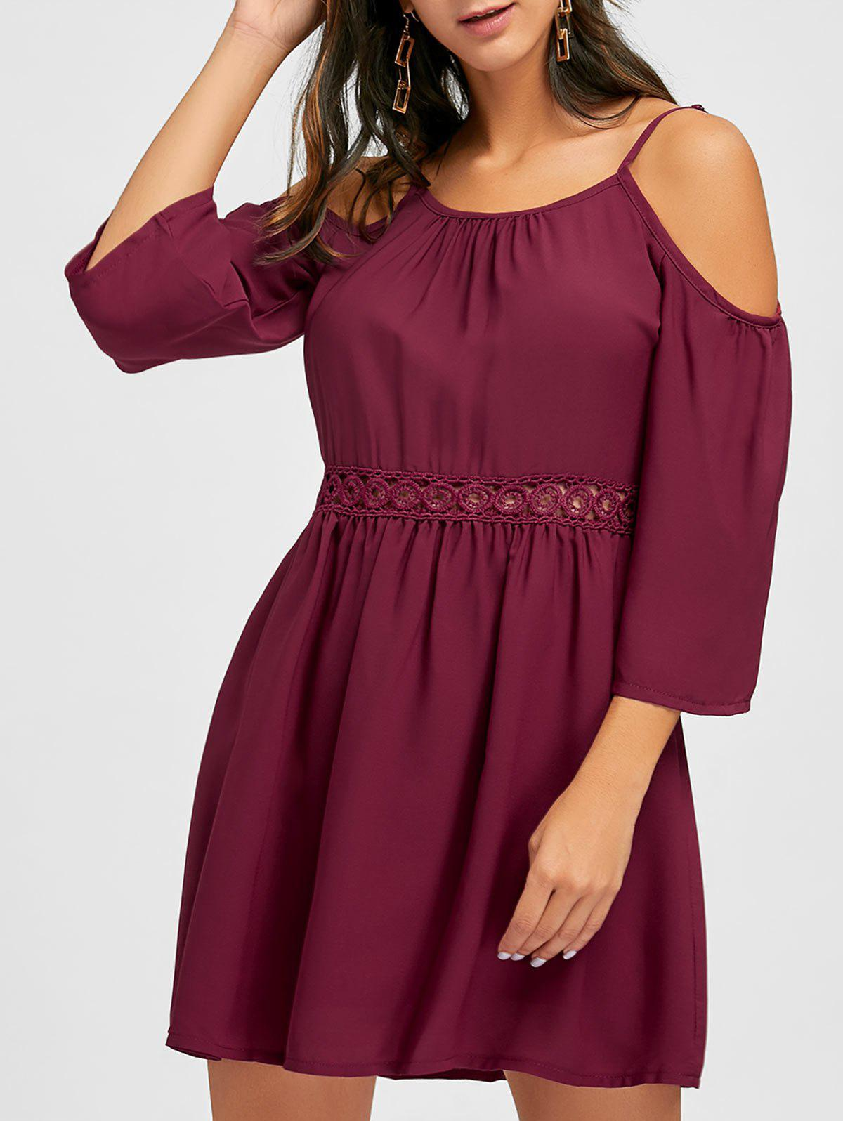 Cami Strap Open Shoulder Chiffon Dress - WINE RED XL