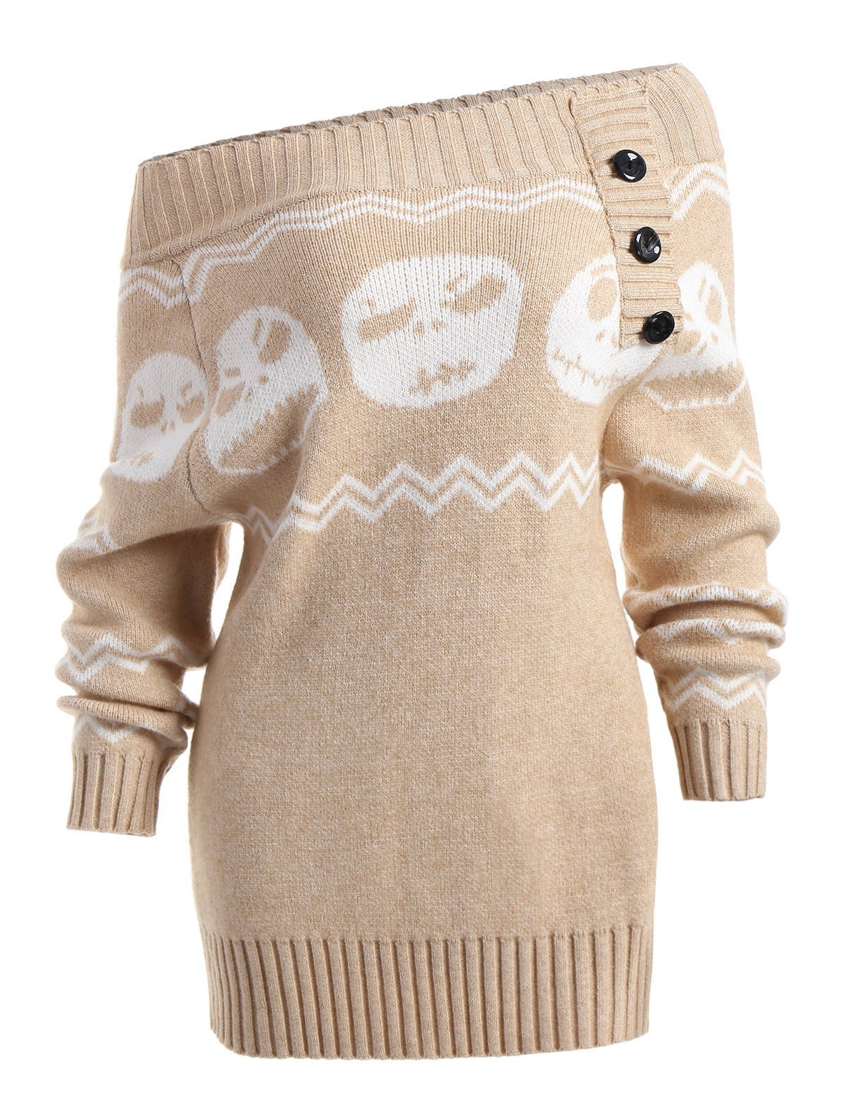 Halloween Skull Off The Shoulder Tunic Sweater - LIGHT KHAKI M