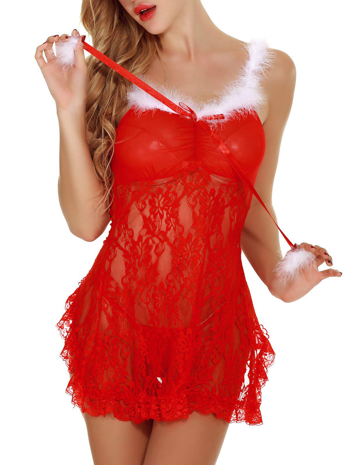 Back Slit See Through Lace Christmas Lingerie Babydoll - RED S