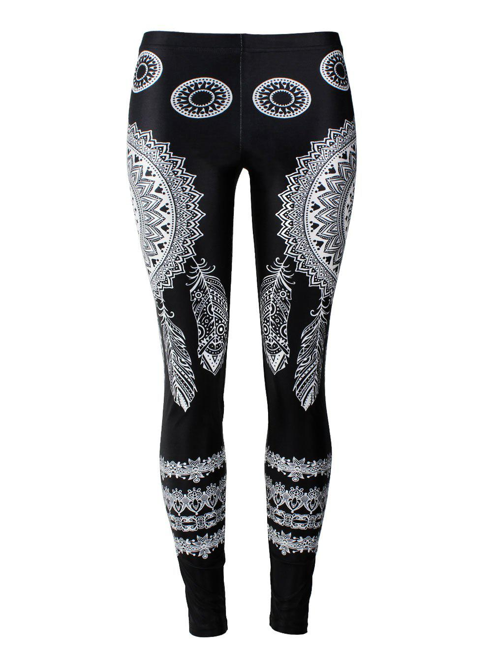 Feather Bohemian Print Skinny Leggings - BLACK XL