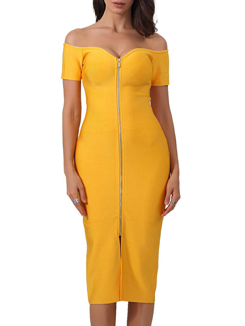 Front Zip Up Off Shoulder Bandage Dress - YELLOW L