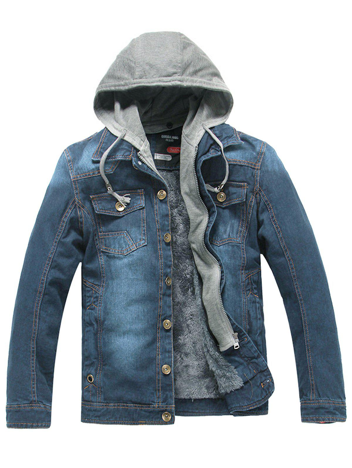 Drawstring Hooded Denim Jean Jacket - BLUE 2XL