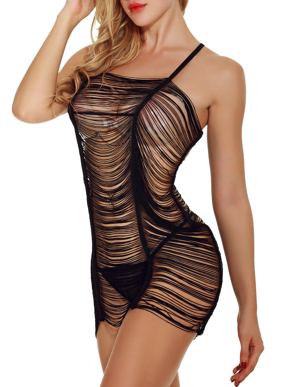 Bandage See Through Lingerie Babydoll - BLACK L