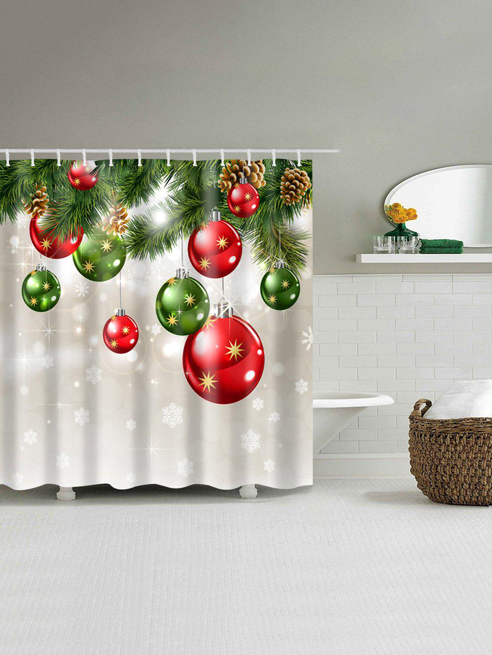 Christmas Baubles Tree Print Waterproof Fabric Shower Curtain - COLORMIX W71 INCH * L79 INCH