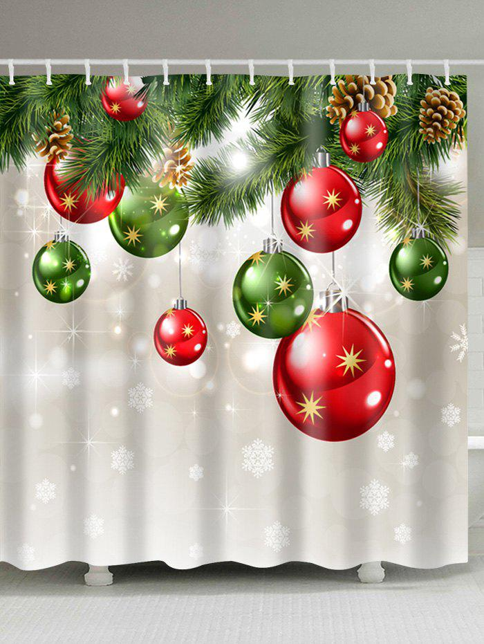 Christmas Baubles Tree Print Waterproof Fabric Shower Curtain