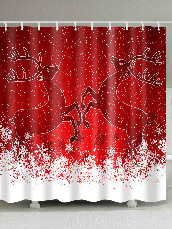 Christmas Snowy Deers Print Fabric Waterproof Shower Curtain christmas snowy santa sleigh print fabric waterproof shower curtain