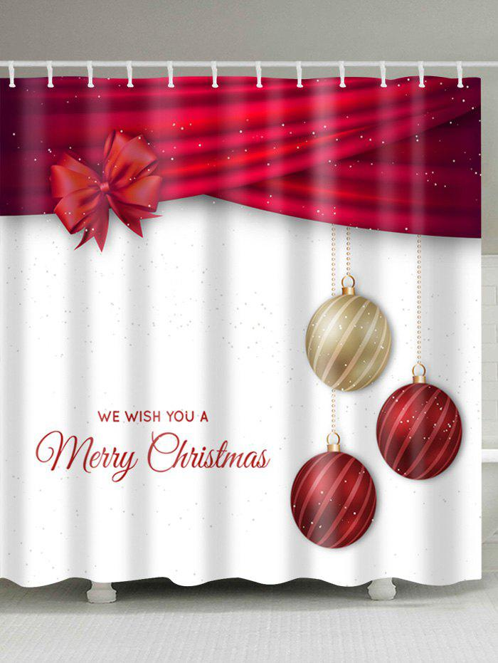 ... Christmas Ball Print Waterproof Polyester Shower Curtain   RED/WHITE  W71 INCH * L79 INCH ...