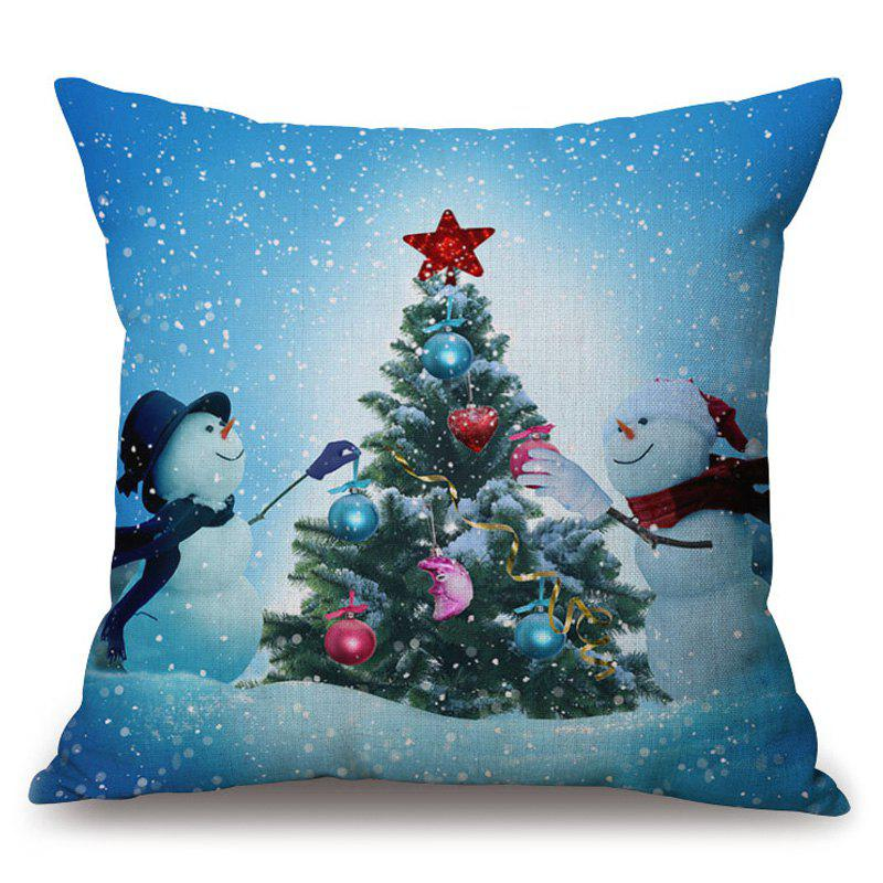 Christmas Tree Snowman Printed Thick Throw Pillowcase cartoon snowman printed christmas throw pillow cover