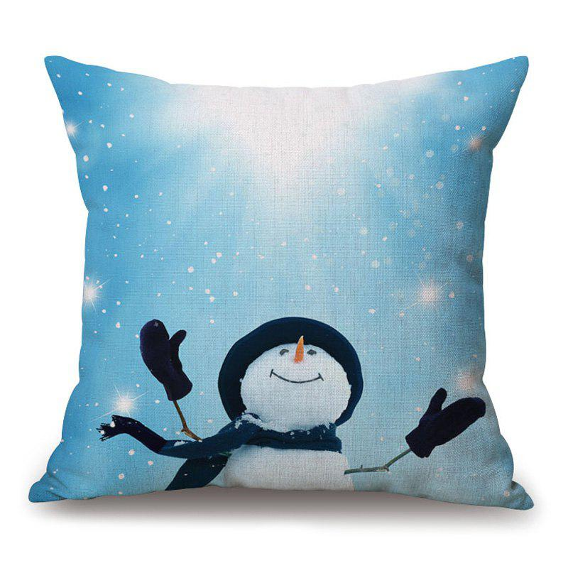 Christmas Snowman Printed Thick Throw Pillow Case christmas cap printed holiday pillow case