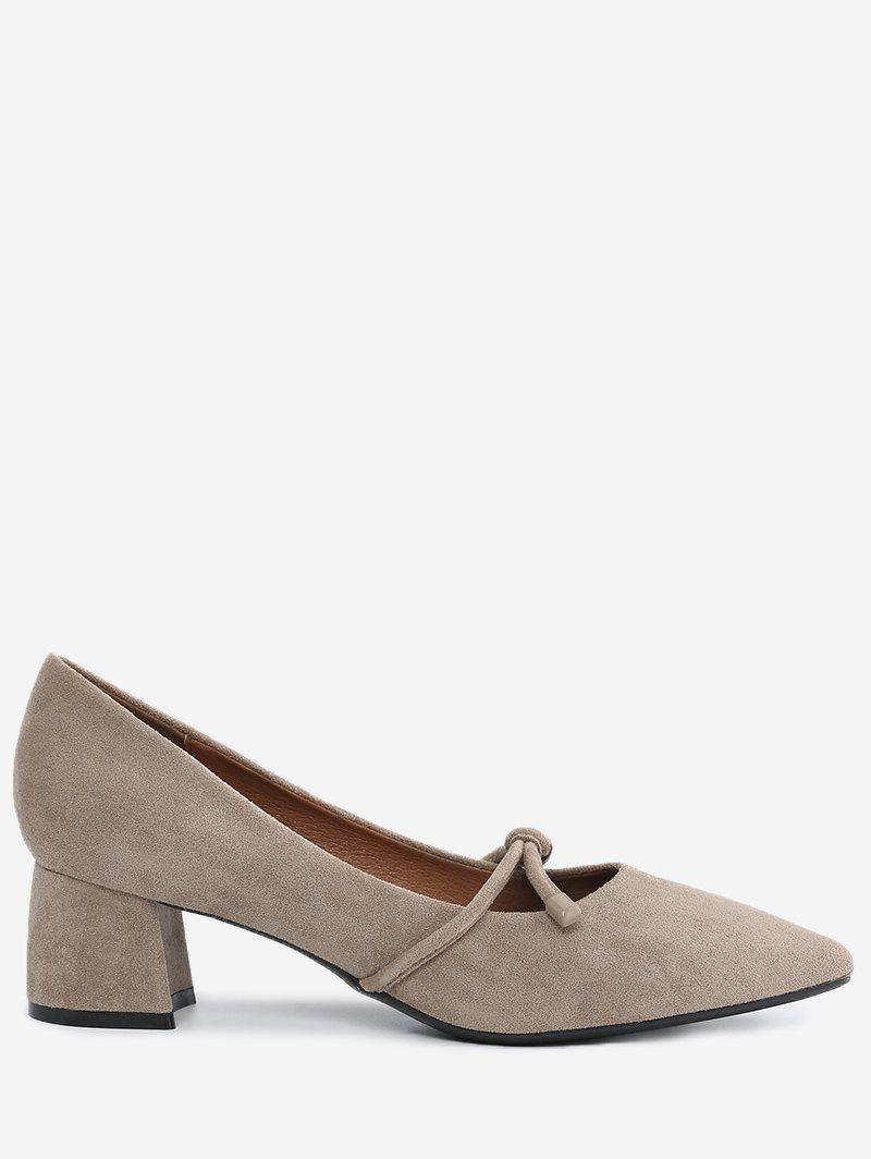 Pointed Toe Bandage Chunky Heel Pumps - APRICOT 39