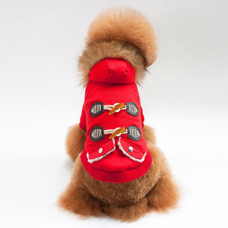 Horn Button Faux Fur Collar Thicken Hooded Coat for Dog - RED S