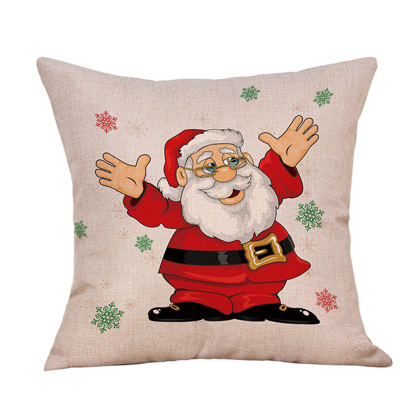 Christmas Santa Snowflake Print Linen Sofa Pillowcase snowy christmas gifts print linen sofa pillowcase