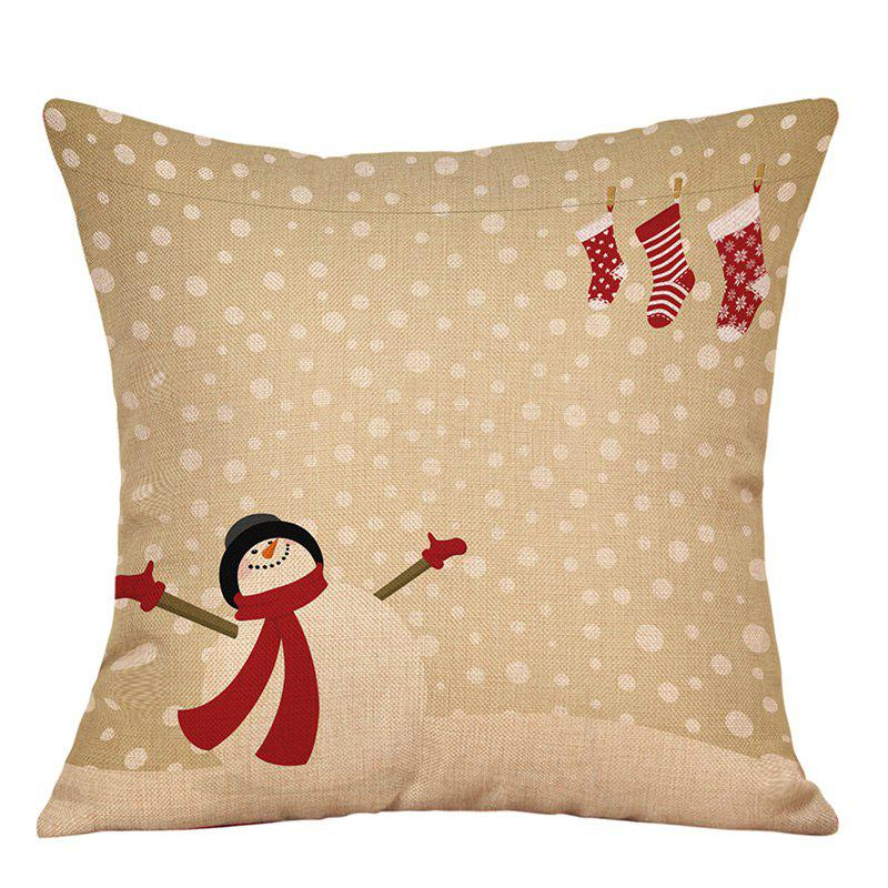 Snowy Christmas Snowman Print Linen Sofa Pillowcase snowy christmas gifts print linen sofa pillowcase