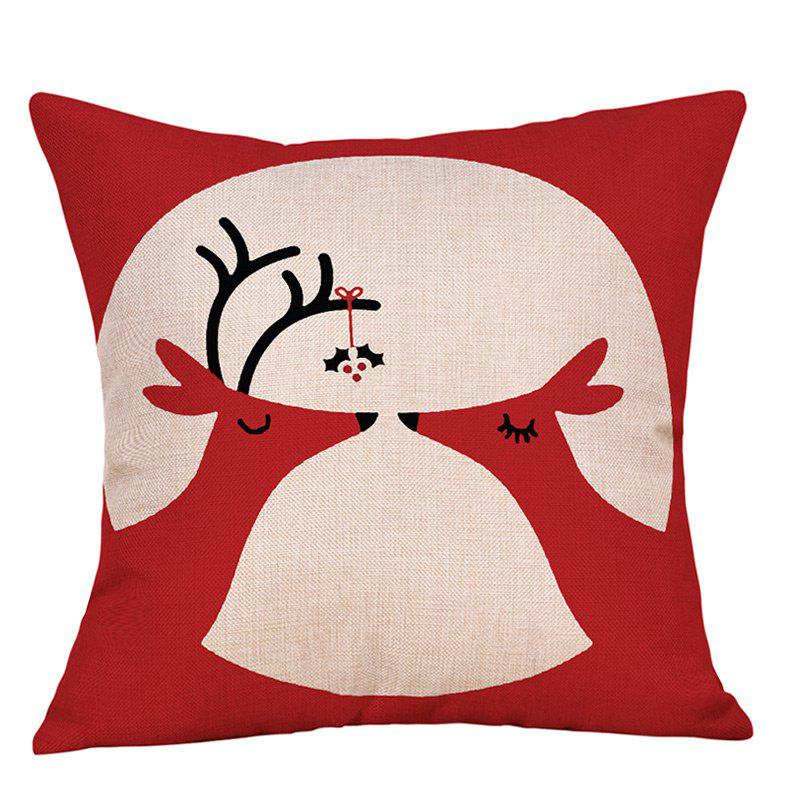 Christmas Deers Print Sofa Linen Pillowcase snowy christmas gifts print linen sofa pillowcase