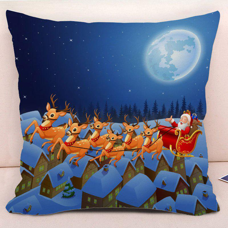 Decorative Christmas Elk Santa Pillow Case - BLUE W18 INCH * L18 INCH