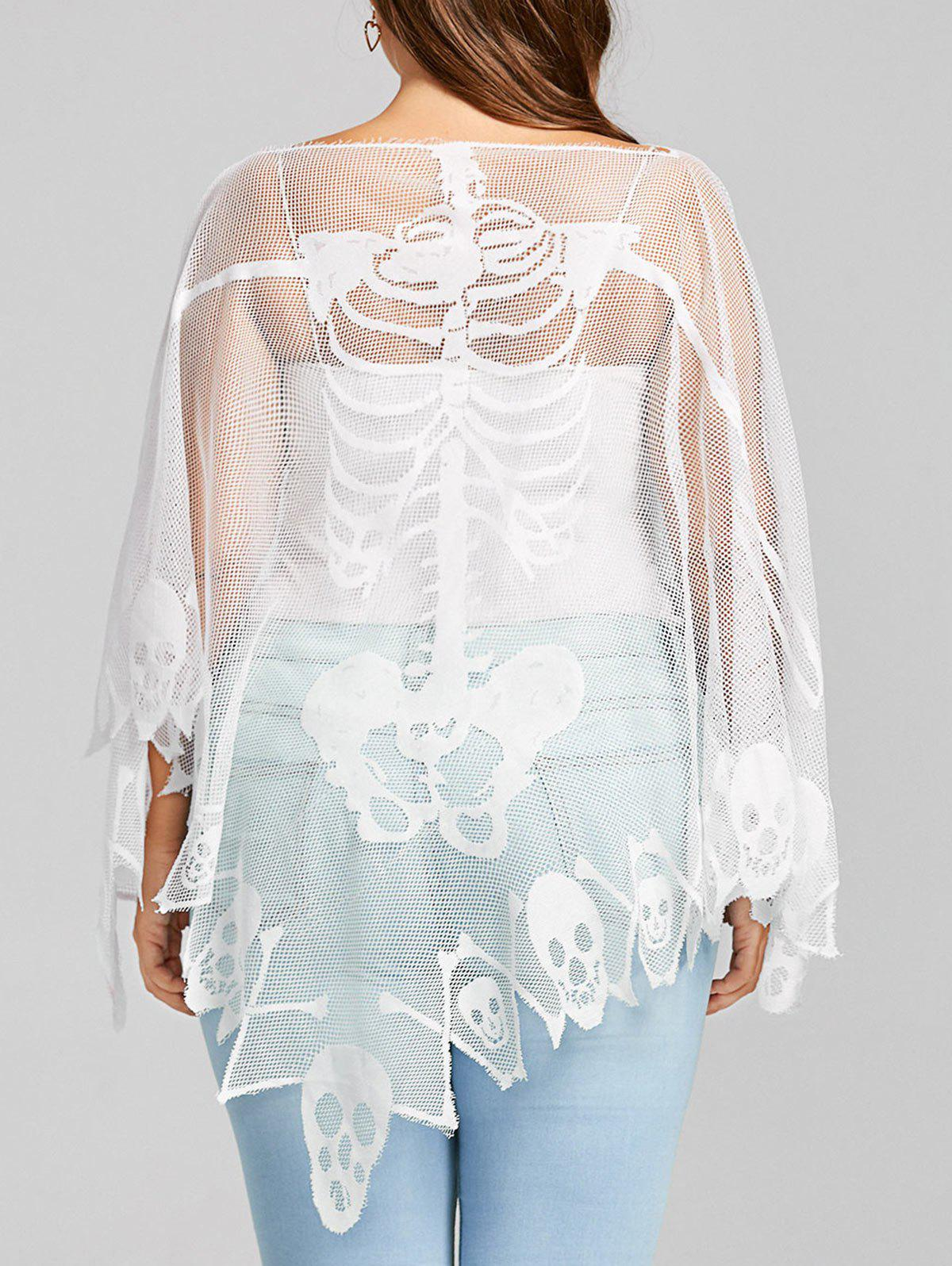 Plus Size Sheer Skull Mesh Batwing Sleeve T-shirt plus size tank dress with long mesh sheer cardigan