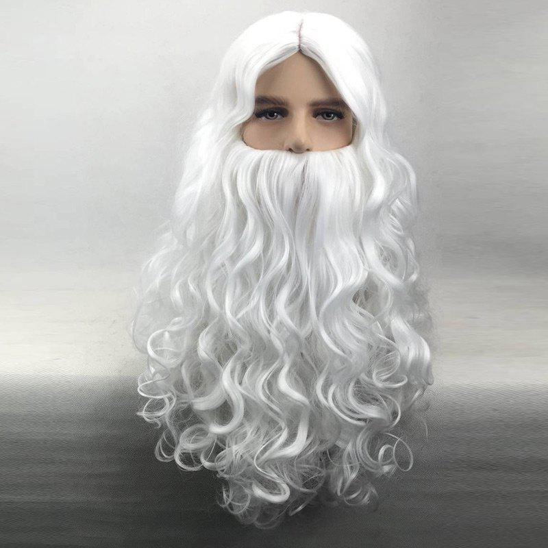 Middle Part Long Curly Christmas Santa Claus Wig With Beard middle part long curly christmas santa claus wig with beard
