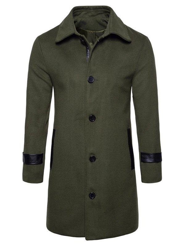 PU Leather Edging Single Breasted Woolen Coat - ARMY GREEN L
