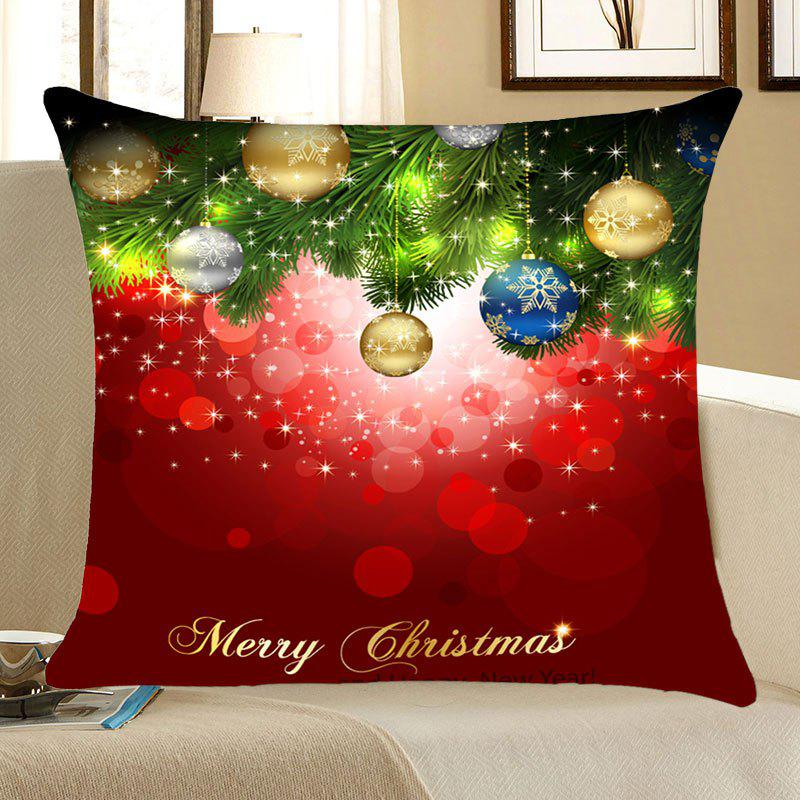 Christmas Tree Decorative Balls Pattern Throw Pillow Case - RED/GREEN W18 INCH * L18 INCH