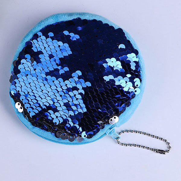 Round Glitter Sequins Zipper Coins Purse - BLUE