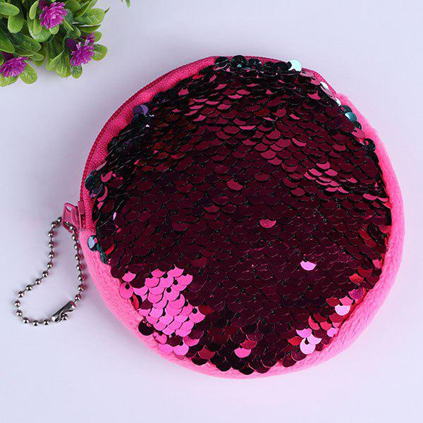 Round Glitter Sequins Zipper Coins Purse - PURPLISH RED