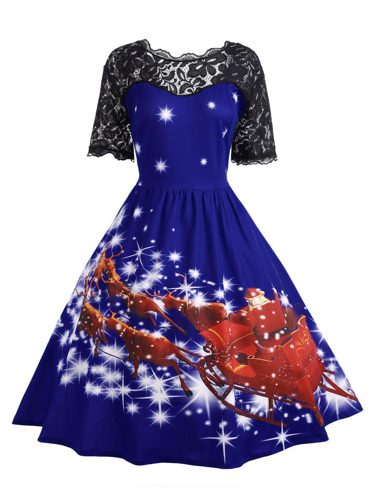 Plus Size Lace Panel Father Christmas Midi Party Dress - ROYAL 3XL