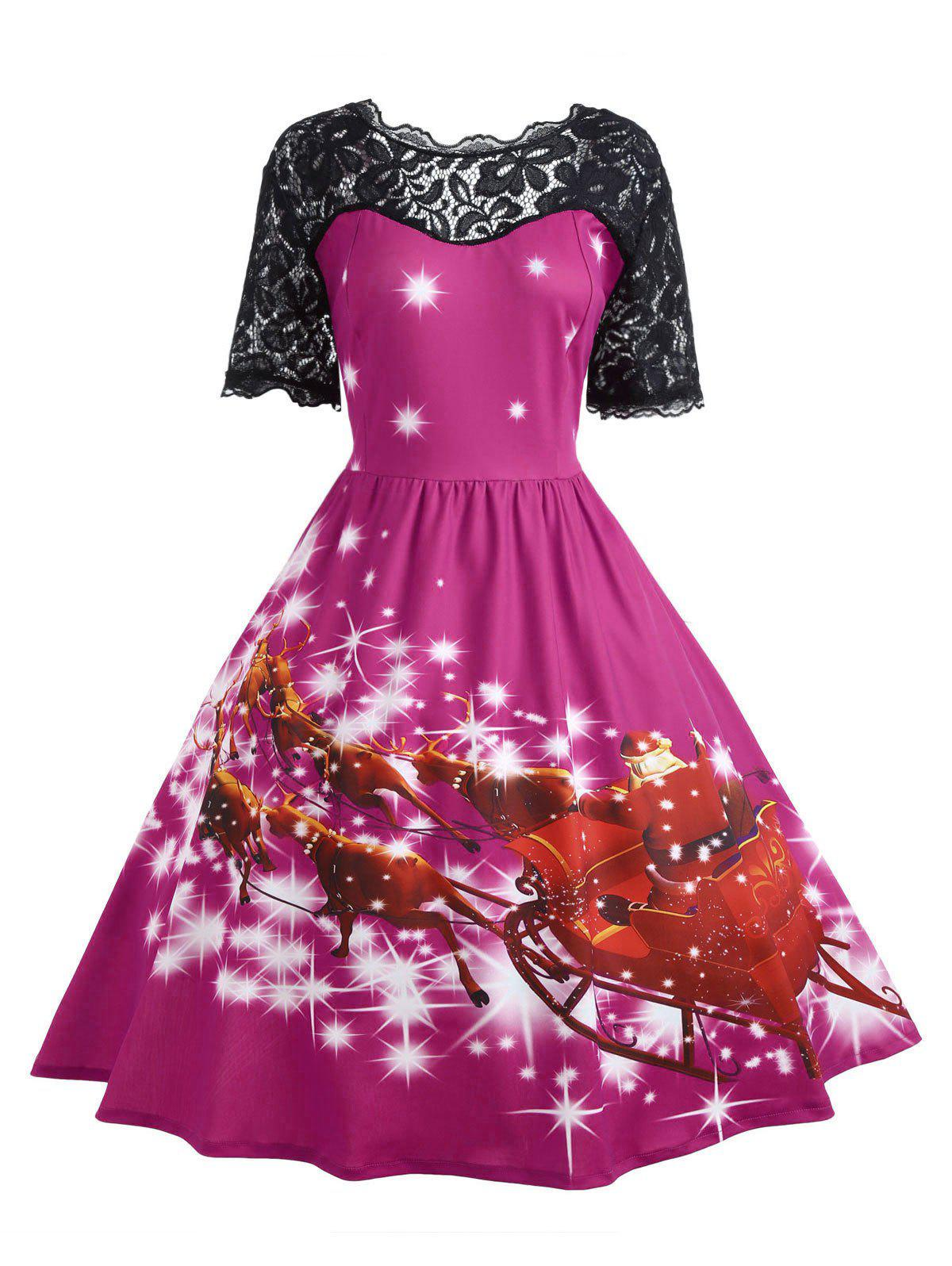 Plus Size Lace Panel Father Christmas Midi Party Dress - TUTTI FRUTTI XL