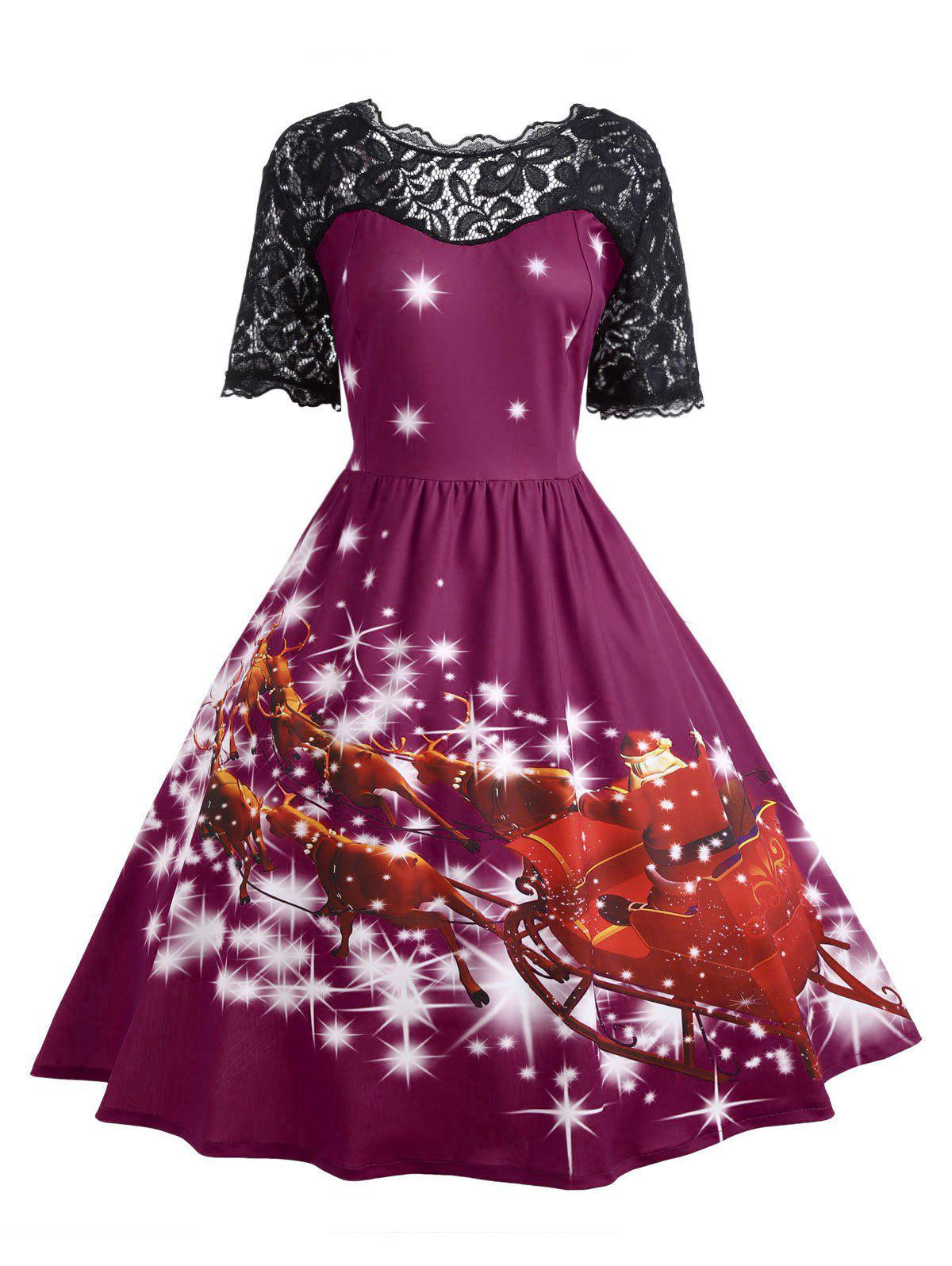 Plus Size Lace Panel Father Christmas Midi Party Dress - PURPLISH RED 2XL